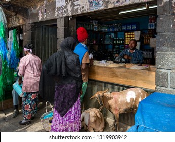 Addis Ababa/Ethiopia -02.16.2019: Traditional shop on the city market
