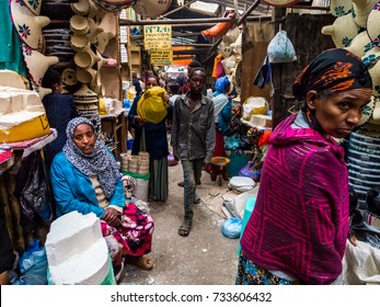ADDIS ABEBA, ETHIOPIA - JUNE 06, 2016: People at Addis Mercato in Addis Abeba, Ethiopia, the largest market in Africa.