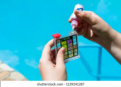 Addition of a chemical to pH meter for measure the acidity of water in a swimming pool