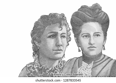 Adela and Celsa Speratti who revolutionized education in Paraguay During the three-party war. on 2000 Guaranies 2009 Banknote from Paraguay. 19th century educators. Closeup Uncirculated - Collection