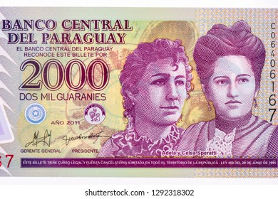 Adela and Celsa Speratti who revolutionized education in Paraguay During the three-party war. on 2000 Guaranies 2009 Banknote from Paraguay. 19th century educators. Closeup Collection.