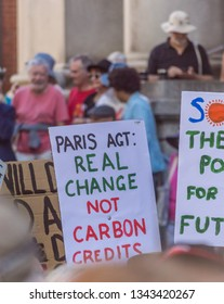 Adelaide, AU - March 15, 2019: Thousands of students in Adelaide gather outside of Parliament House demanding action on climate change.