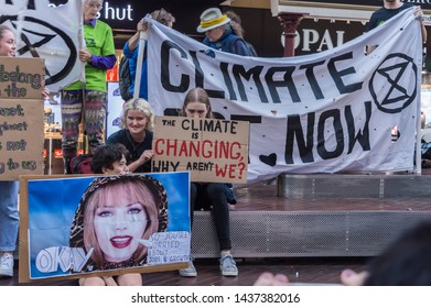 Adelaide, AU - May 24, 2019: Climate change protesters gather at Rundle Mall to protest inaction on climate change.
