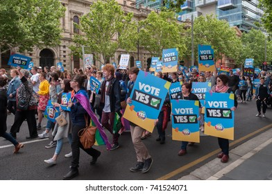 Adelaide, AU - October 22, 2017: Hundreds of supporters of Marriage Equality gather at the South Australian Old Parliament House in Adelaide.