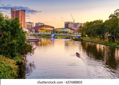 Adelaide, Australia - April 05, 2017: Adelaide city skyline at sunset viewed across Torrens river from King William bridge