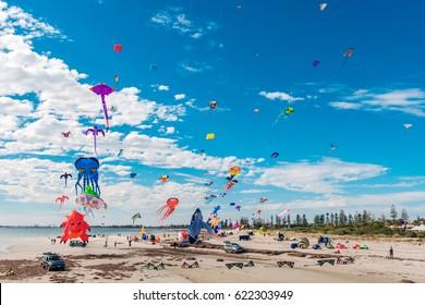 Adelaide, Australia - April 15, 2017: Adelaide International Kite Festival at Semaphore Beach. Event gathered together international kite flyers from Australia, New Zealand and Malaysia