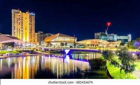 Adelaide, Australia - April 16, 2017: Adelaide city skyline illuminated at night viewed across Torrens river