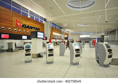 Adelaide, Australia - April 7, 2012: Airport Interior - Check-in counter