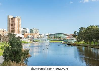 Adelaide, Australia - August 02, 2014: Adelaide city beside Torrens River