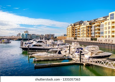 Adelaide, Australia - August 13, 2017: Beautiful view of private boats docked in Patawalonga Haven near Glenelg Marina East on a bright day. Glenelg is one of the reachest suburbs in South Australia