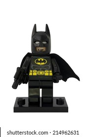 ADELAIDE, AUSTRALIA - August 16 2014:A studio shot of a Batman Lego Compatible minifigure from the DC Comics and Movies. Lego is extremely popular worldwide with children and collectors.