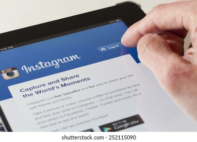 Adelaide, Australia - August 19, 2013: Logging in the Instagram webpage on an ipad. Instagram is an online photo-sharing, video-sharing and social networking service.