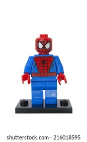 ADELAIDE, AUSTRALIA - August 20 2014:A studio shot of a Spiderman Lego Compatible minifigure from the Marvel Comics and Movies. Lego is extremely popular worldwide with children and collectors.