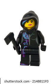 ADELAIDE, AUSTRALIA - August 26 2014:A studio shot of a Wyldstyle Lego minifigure from the Lego movie. Lego is extremely popular worldwide with children and collectors.