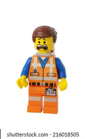 ADELAIDE, AUSTRALIA - August 26 2014:A studio shot of a Emmet Lego minifigure from the Lego movie. Lego is extremely popular worldwide with children and collectors.