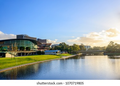 Adelaide,  Australia - August 27, 2017: Adelaide Riverbank in city centre viewed across Torrens river in Elder Park on a bright day