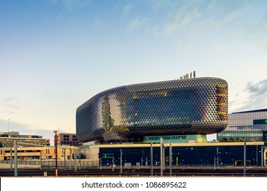 Adelaide, Australia - August 27, 2017: South Australian Health and Medical Research Institute (SAHMRI) viewed from parklands towards south at dusk.