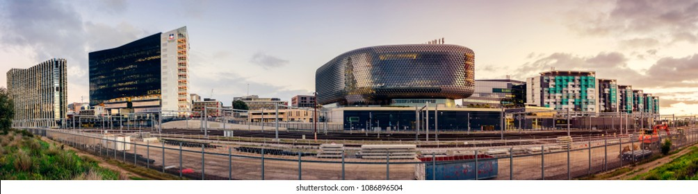 Adelaide, Australia - August 27, 2017: SAHMRI, University of Adelaide, UniSA and NewRAH precincts in panoramic view from parklands towards south at dusk.