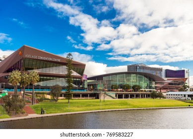 Adelaide, Australia - August 27, 2017: Adelaide Convenrion Centre viewed across Torrens river from footbridge  during winter time