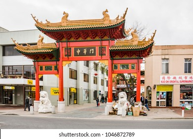 ADELAIDE, AUSTRALIA - AUGUST 5: the gate and shoppers and stores in China Town on August 5, 2010 in the city center of Adelaide.