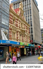 Adelaide, Australia. Circa May 2005. People and tourists walk and shop in a pedestrian shopping street of Adelaide, Australia.