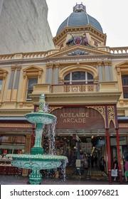 Adelaide, Australia. Circa May 2005. Entrance to historic Adelaide shopping arcade building in Adelaide, Australia.