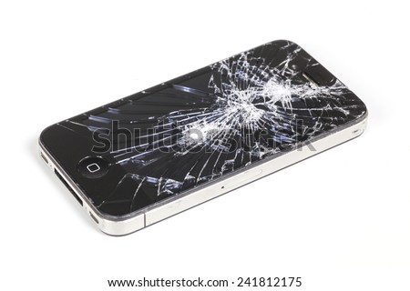 Adelaide, Australia - Dec 8: Studio shot of an iPhone 4 with seriously broken retina display screen isolated on white on Dec 8, 2014. iPhone 4 is a smartphone developed by Apple Inc.