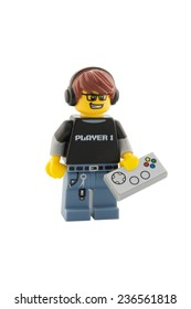 ADELAIDE, AUSTRALIA - December 06, 2014: A studio shot of a Video Game Guy Lego Minifigure from series 12. Lego is very popular with children and collectors worldwide.