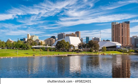 Adelaide, Australia - December 2, 2016: Adelaide city skyline on a day viewed through Torrens river in Elder Park on a bright day