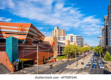 Adelaide, Australia - December 2, 2016: Adelaide Convention Centre and North Terrace trafic viewed towards east from Montefiore road bridge on a bright day