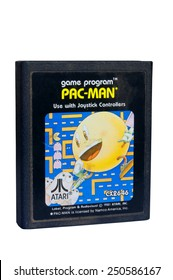ADELAIDE, AUSTRALIA - February 06 2015: A Studio shot of an Atari 2600 Pac-Man Game Cartridge. A popular video game from the 1980's is popular with collectors and retro gamers worldwide.