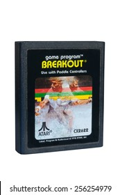 ADELAIDE, AUSTRALIA - February 06 2015: A Studio shot of an Atari 2600 Breakout Game Cartridge. A popular video game from the 1980's is popular with collectors and retro gamers worldwide.