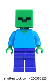 ADELAIDE, AUSTRALIA - February 06 2015:A studio shot of an Zombie Lego minifigure from the popular Minecraft game. Lego is extremely popular worldwide with children and collectors.