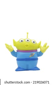 ADELAIDE, AUSTRALIA - February 25 2013:A studio shot of a little green alien figurine from the Toy Story movie series. Very popular childrens mvoie series issued worldwide.