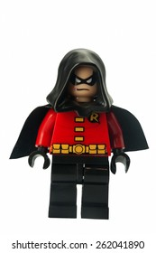 ADELAIDE, AUSTRALIA - February 25 2015:A studio shot of a Robin Lego Compatible minifigure from the Batman Theme. Lego is extremely popular worldwide with children and collectors.