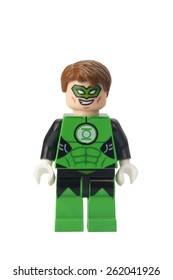 ADELAIDE, AUSTRALIA - February 25 2015:A studio shot of a Green Lantern Lego compatible minifigure from the DC Universe. Lego is extremely popular worldwide with children and collectors.