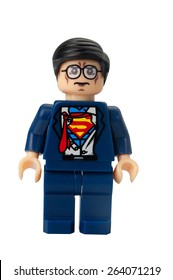 ADELAIDE, AUSTRALIA - February 26 2015:A studio shot of a Clark Kent custom Lego minifigure from the Marvel comics. Lego is extremely popular worldwide with children and collectors.