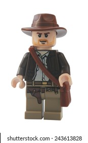 ADELAIDE, AUSTRALIA - January 06 2015:A studio shot of an Indiana Jones Lego minifigure from the popular movie series. Lego is extremely popular worldwide with children and collectors.