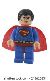 ADELAIDE, AUSTRALIA - January 06 2015:A studio shot of an Superman Lego minifigure from the DC Comics and Movies. Lego is extremely popular worldwide with children and collectors.