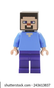ADELAIDE, AUSTRALIA - January 09 2015:A studio shot of an Steve Lego minifigure from the popular Minecraft game. Lego is extremely popular worldwide with children and collectors.