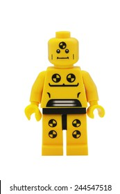 ADELAIDE, AUSTRALIA - January 09 2015:A studio shot of a Demolition Dummy Lego minifigure from the series 1 isuue in 2010. Lego is extremely popular worldwide with children and collectors.