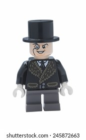 ADELAIDE, AUSTRALIA - January 09 2015:A studio shot of a Penguin Lego minifigure from the DC Comics and Movies. Lego is extremely popular worldwide with children and collectors.