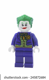 ADELAIDE, AUSTRALIA - January 09 2015:A studio shot of a Joker Lego minifigure from the DC Comics and Movies. Lego is extremely popular worldwide with children and collectors.