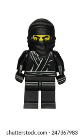 ADELAIDE, AUSTRALIA - January 09 2015:A studio shot of a Ninja Lego minifigure from Minifigure Series 1. Lego is extremely popular worldwide with children and collectors.