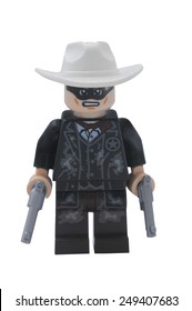 ADELAIDE, AUSTRALIA - January 09 2015:A studio shot of a Lone Ranger Lego minifigure from the movie and TV Series. Lego is extremely popular worldwide with children and collectors.
