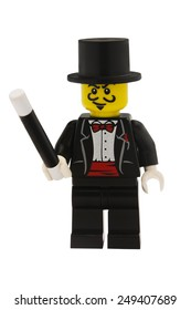 ADELAIDE, AUSTRALIA - January 09 2015:A studio shot of a Magician Lego minifigure from the series 1 issue in 2010. Lego is extremely popular worldwide with children and collectors.