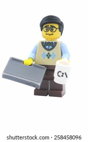 ADELAIDE, AUSTRALIA - January 09 2015:A studio shot of a Computer Programmer Lego minifigure from the series 7 issued in 2012. Lego is extremely popular worldwide with children and collectors.