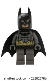 ADELAIDE, AUSTRALIA - January 09 2015:A studio shot of a Batman Lego minifigure from the DC comics and movies. Lego is extremely popular worldwide with children and collectors.