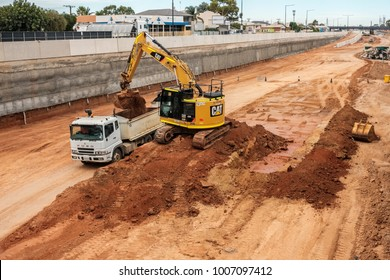Adelaide, Australia - January 10, 2018: Torrens Road to River Torrens Project under construction view along South Rd on a day. New six-lane 4km roadway is planned to be finished in 2018