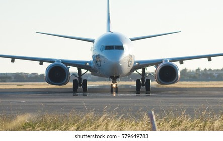 Adelaide, Australia - January 11, 2017: A Virgin Airlines plane crosses the tarmac in Adelaide Airport, South Australia
